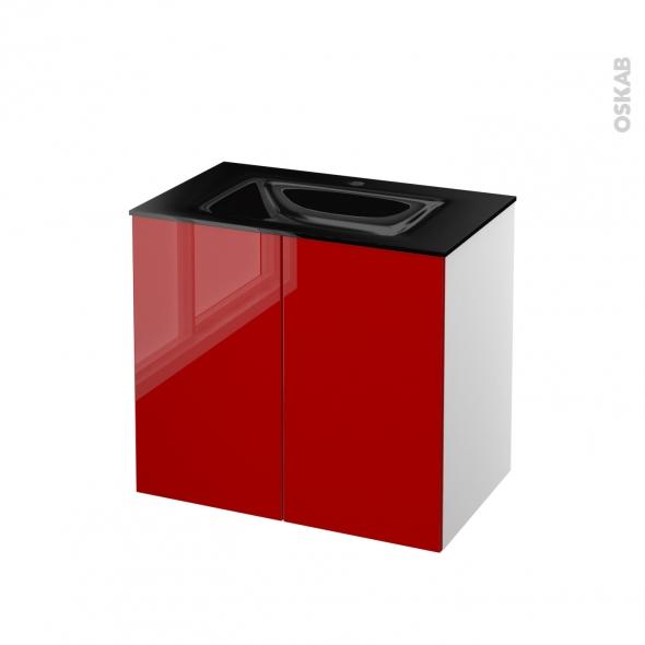 STECIA Rouge - Meuble salle de bains N°701 - Vasque OCCE - 2 portes  - L80,5xH71,2xP50,5