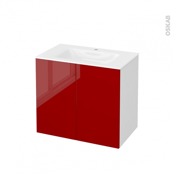 STECIA Rouge - Meuble salle de bains N°701 - Vasque VALA - 2 portes  - L80,5xH71,2xP50,5