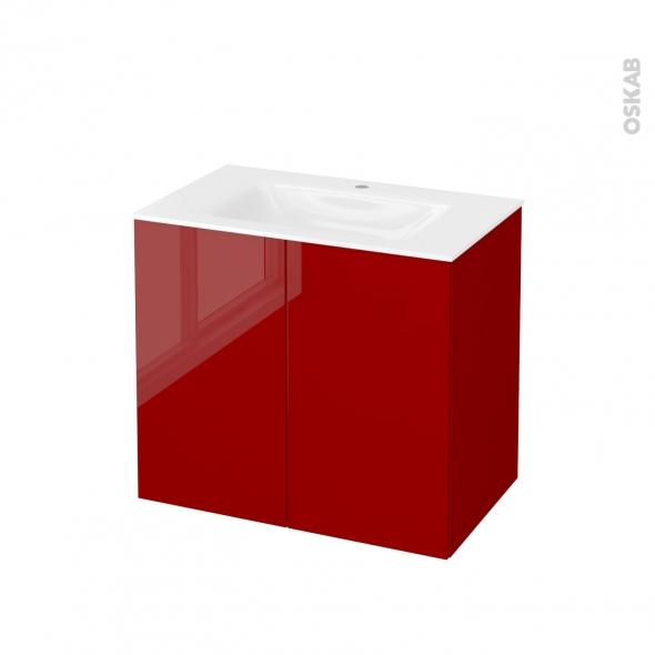 Meuble de salle de bains - Plan vasque VALA - STECIA Rouge - 2 portes - Côtés décors - L80,5 x H71,2 x P50,5 cm