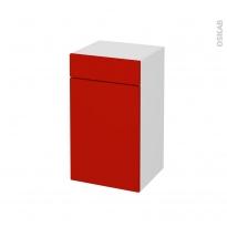 GINKO Rouge - Meuble bas salle de bains prof.37 - 1 porte 1 tiroir - L40xH70xP37