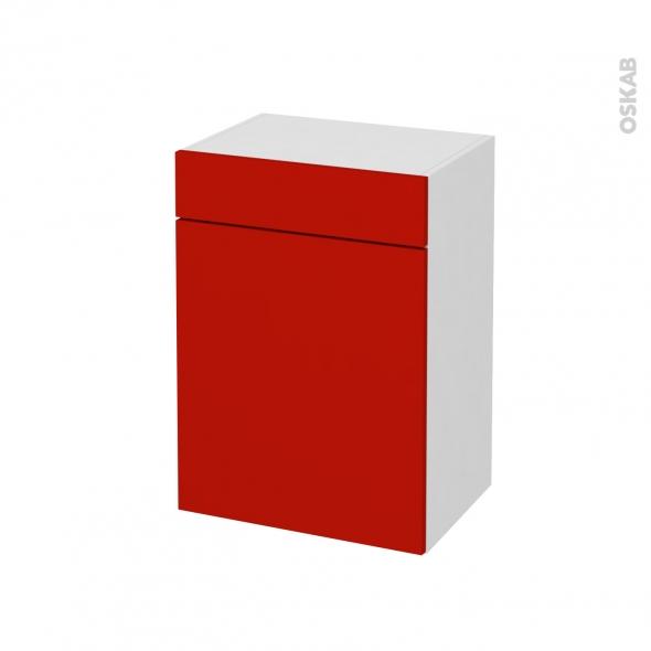 GINKO Rouge - Meuble bas salle de bains prof.37 - 1 porte - 1 tiroir - L50xH70xP37
