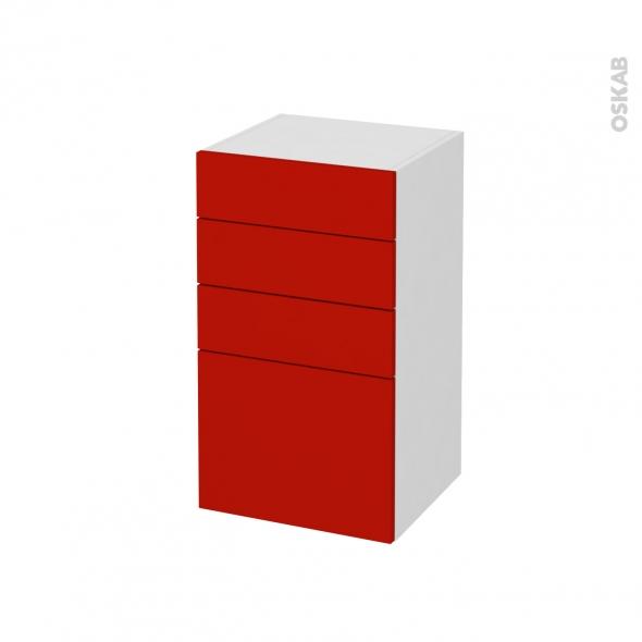 GINKO Rouge - Meuble bas salle de bains prof.37 - 4 tiroirs - L40xH70xP37
