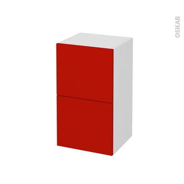GINKO Rouge - Meuble bas salle de bains - 2 tiroirs - 1 tiroir anglaise - L40xH70xP37