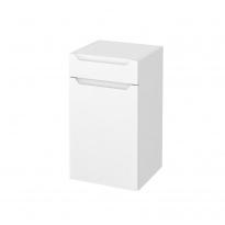 Meuble de salle de bains - Rangement bas - PIMA Blanc - 1 porte 1 tiroir - L40 x H70 x P37 cm