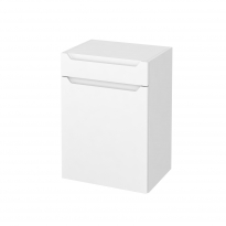 Meuble de salle de bains - Rangement bas - PIMA Blanc - 1 porte 1 tiroir - L50 x H70 x P37 cm