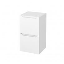 Meuble de salle de bains - Rangement bas - PIMA Blanc - 2 tiroirs 1 tiroir à l'anglaise - L40 x H70 x P37 cm