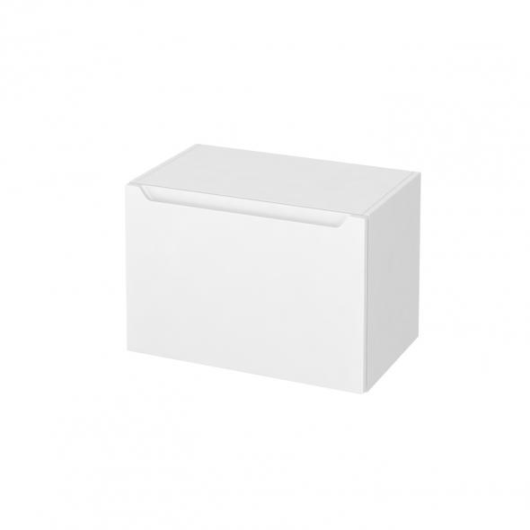 Meuble de salle de bains - Rangement bas - PIMA Blanc - 1 tiroir - L60 x H41 x P37 cm
