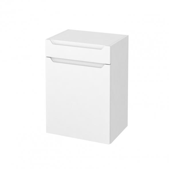 PIMA Blanc - Meuble bas salle de bains prof.37 - 1 porte - 1 tiroir - L50xH70xP37