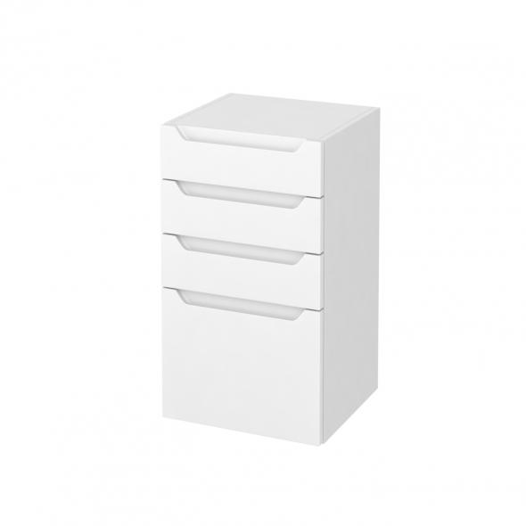 Meuble de salle de bains - Rangement bas - PIMA Blanc - 4 tiroirs - L40 x H70 x P37 cm