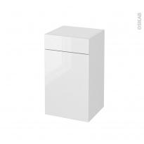 Meuble de salle de bains - Rangement bas - BORA Blanc - 1 porte 1 tiroir - L40 x H70 x P37 cm