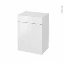 STECIA Blanc - Meuble bas salle de bains prof.37 - 1 porte - 1 tiroir - L50xH70xP37