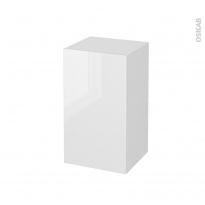 STECIA Blanc - Meuble bas salle de bains prof.37 - 1 porte - L40xH70xP37