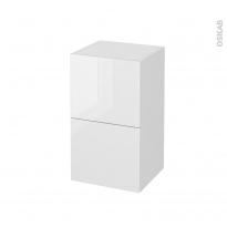 Meuble de salle de bains - Rangement bas - BORA Blanc - 2 tiroirs 1 tiroir à l'anglaise - L40 x H70 x P37 cm