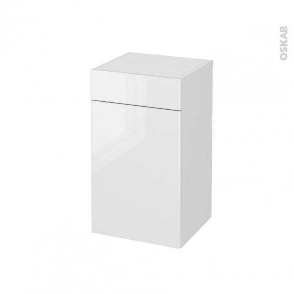 Meuble de salle de bains rangement bas bora blanc 1 porte for Meuble de rangement salle de bain blanc