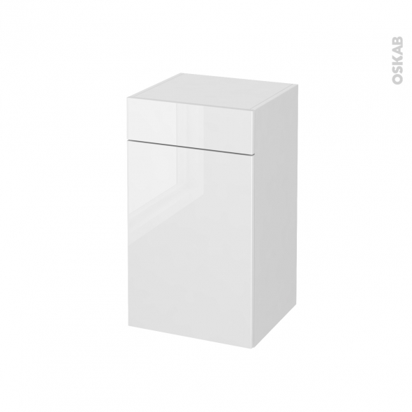 Meuble de salle de bains rangement bas bora blanc 1 porte for Rangement tiroir blanc