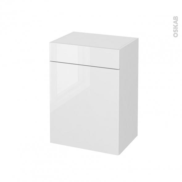 Meuble de salle de bains - Rangement bas - BORA Blanc - 1 porte 1 tiroir - L50 x H70 x P37 cm
