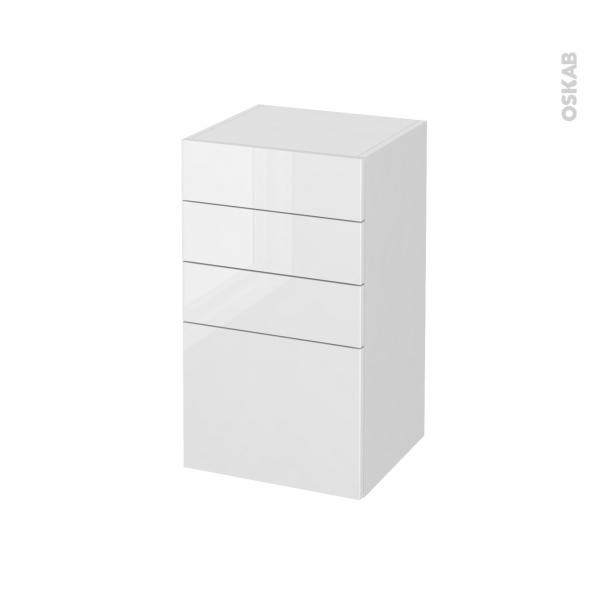 STECIA Blanc - Meuble bas salle de bains prof.37 - 4 tiroirs - L40xH70xP37