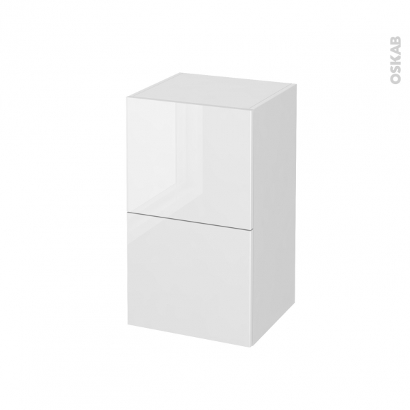 STECIA Blanc - Meuble bas salle de bains - 2 tiroirs - 1 tiroir anglaise - L40xH70xP37