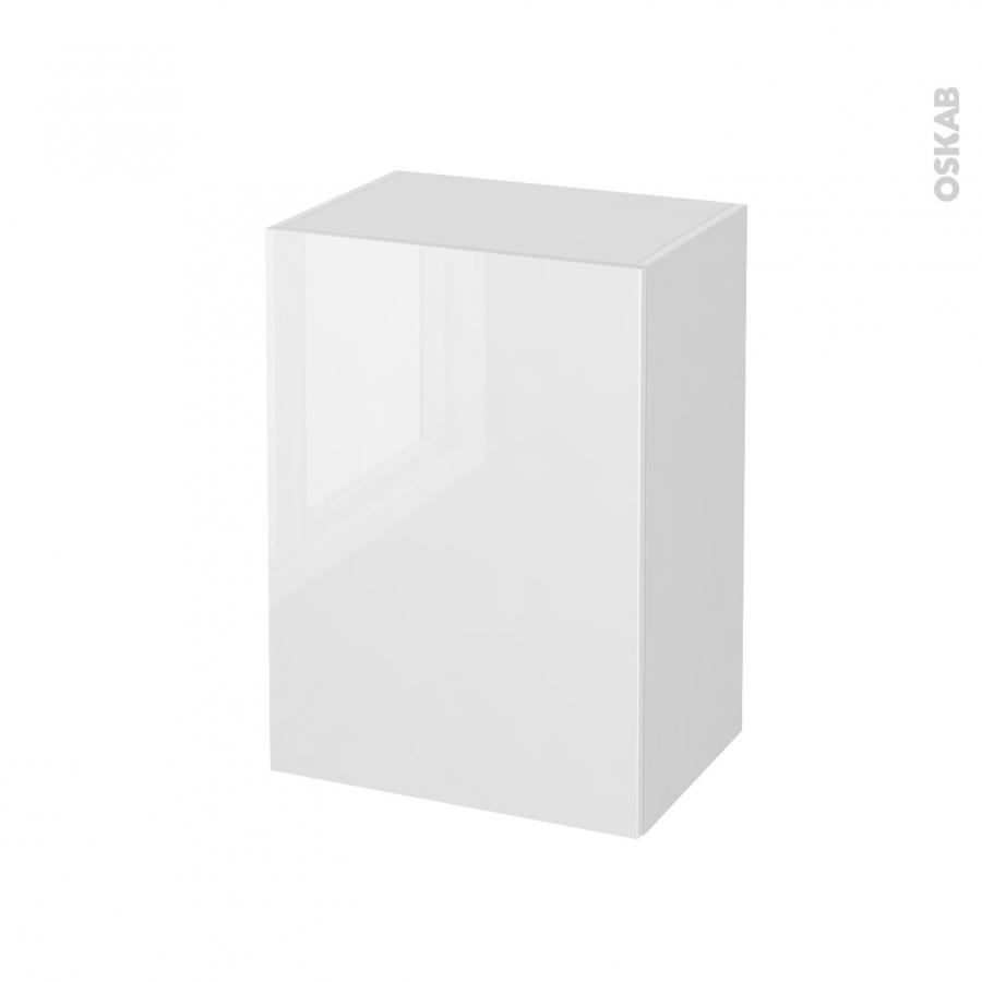 Meuble de salle de bains rangement bas bora blanc 1 porte for Horizon meuble de salle de bain 59 cm blanc