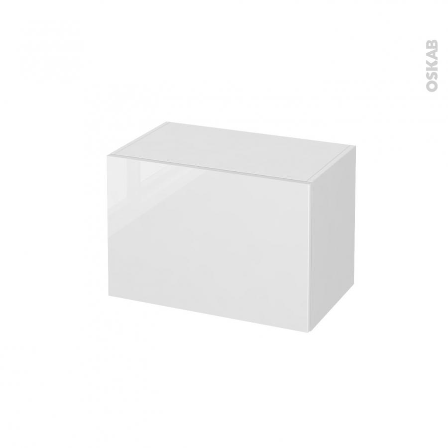 Meuble de salle de bains rangement bas bora blanc 1 porte l60 x h41 x p37 cm oskab for Meuble rangement salle de bain blanc