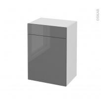 Meuble de salle de bains - Rangement bas - STECIA Gris - 1 porte 1 tiroir - L50 x H70 x P37 cm