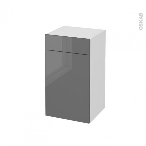 Meuble de salle de bains rangement bas stecia gris 1 porte for Meuble salle de bain 2 portes 1 tiroir
