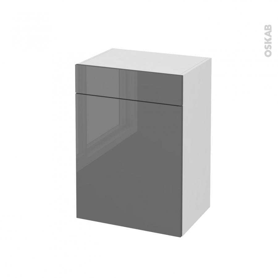 Meuble de salle de bains rangement bas stecia gris 1 porte for Meuble salle de bain porte et tiroir