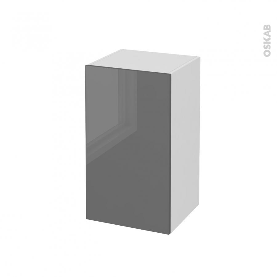 Meuble de salle de bains rangement bas stecia gris 1 porte for Meuble salle de bain sans porte