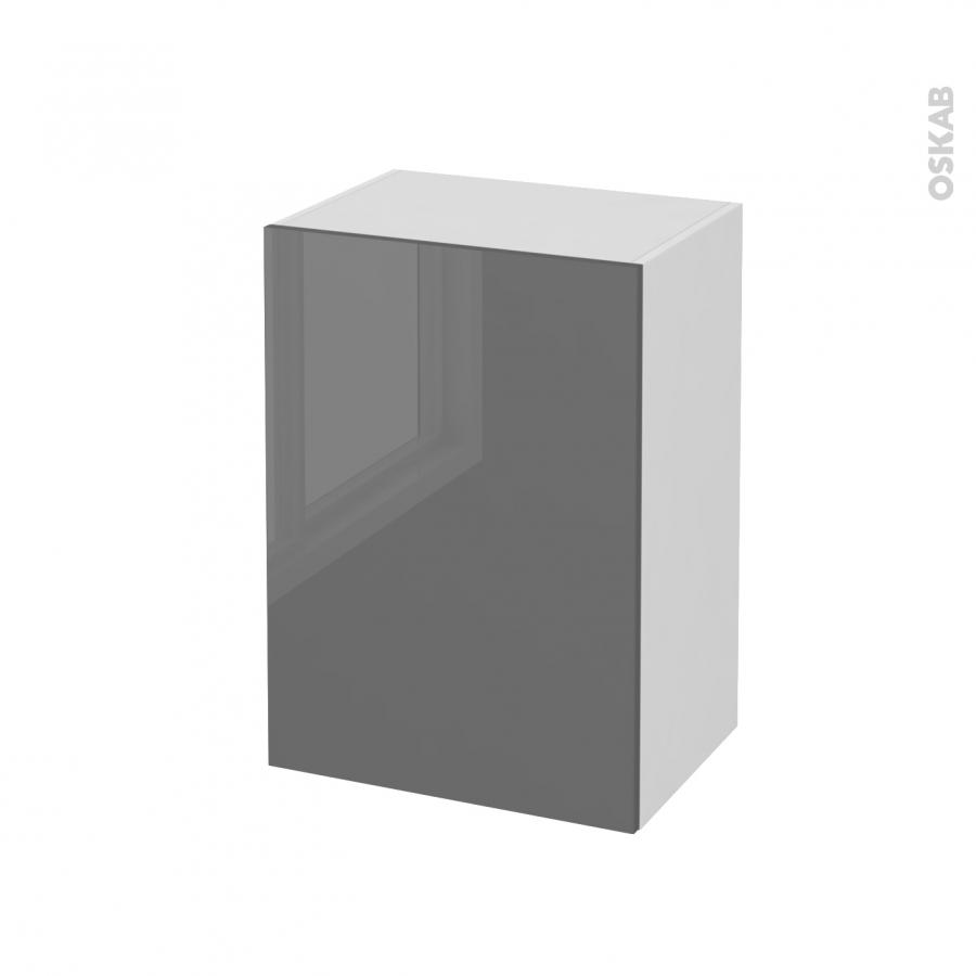 Meuble de salle de bains rangement bas stecia gris 1 porte for Meuble bas salle de bain gris