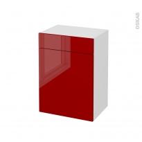 Meuble de salle de bains - Rangement bas - STECIA Rouge - 1 porte 1 tiroir - L50 x H70 x P37 cm