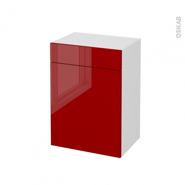 meuble de salle de bains rangement bas stecia rouge 1 porte 1 tiroir l50 x h70 x p37 cm oskab. Black Bedroom Furniture Sets. Home Design Ideas