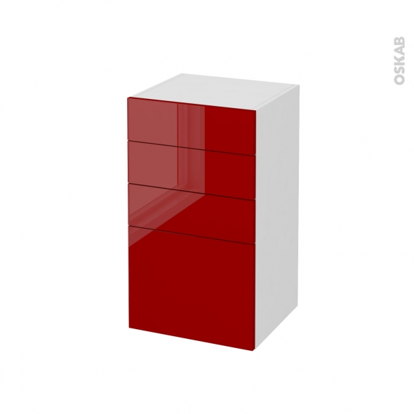 STECIA Rouge - Meuble bas salle de bains prof.37 - 4 tiroirs - L40xH70xP37