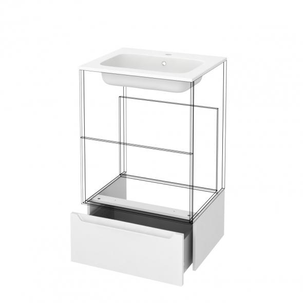 Tiroir sous meuble - Socle n°51 - PIMA Blanc - pour meuble salle de bains - L60 x H26 x P45 cm