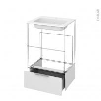 Tiroir sous meuble - Socle n°51 - STECIA Blanc - pour meuble salle de bains - L60 x H26 x P45 cm
