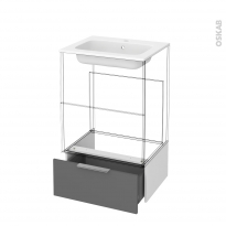 Tiroir sous meuble - Socle n°51 - STECIA Gris - pour meuble salle de bains - L60 x H26 x P45 cm
