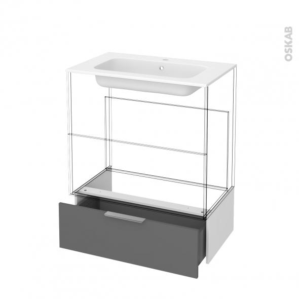 Tiroir sous meuble - Socle n°101 - STECIA Gris - pour meuble salle de bains - L80 x H26 x P45 cm