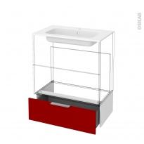 STECIA Rouge - Tiroir socle N°101 - L80xH26xP45