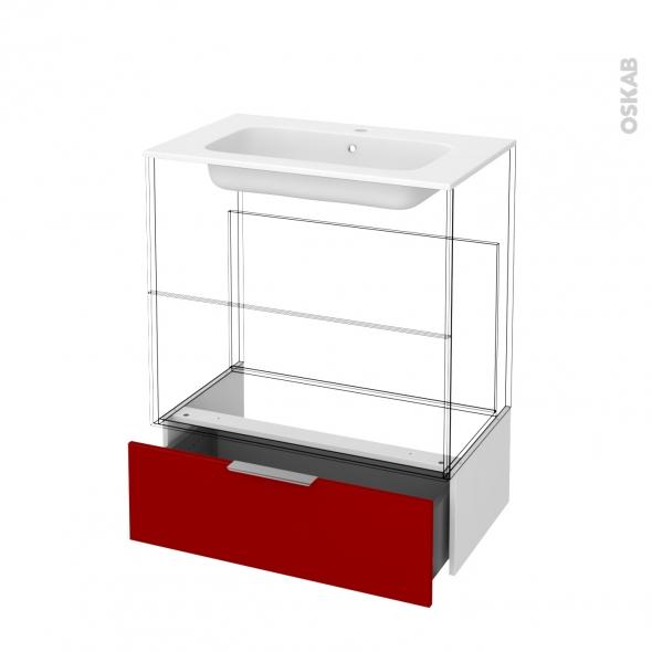 Tiroir sous meuble - Socle n°101 - STECIA Rouge - pour meuble salle de bains - L80 x H26 x P45 cm