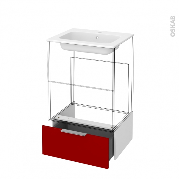 Tiroir sous meuble - Socle n°51 - STECIA Rouge - pour meuble salle de bains - L60 x H26 x P45 cm