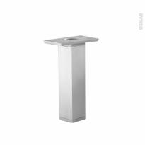 Lot de 2 pieds - Carrés réglables - Pour meuble de salle de bains - Finition aluminium - L3,5 x l3,5 x H25 cm - HAKEO