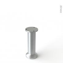 Pied en acier rond - BASIC - réglable de H15 à 17cm - Acier brossé - HAKEO