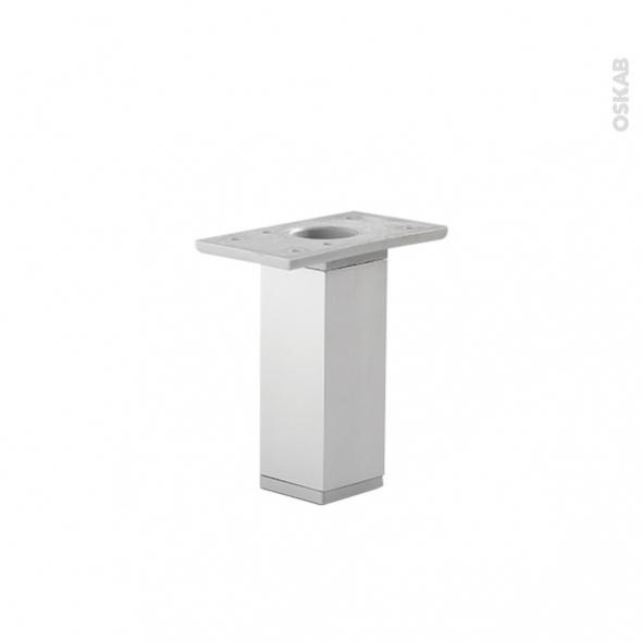 HAKEO - Lot de 2 pieds carrés - Finition aluminium - H130mm Ø35mm