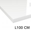 Plan de toilette - Décor Blanc Brillant - Stratifié - Chant coordonné - L100 x P50 x E4,4 cm - PLANEKO - Destockage