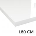 PLANEKO - Plan de toilette - Décor Blanc Brillant - Chant Blanc Brillant - L80xP50xE4,4cm