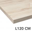 Plan de toilette N°213 - Décor Chêne clair Ikoro - Stratifié - Chant coordonné - L120 x P50 x E3,8 cm - PLANEKO