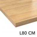 Plan de toilette - Décor Chêne naturel hosta - Stratifié - Chant coordonné - L80 x P50 x E4,4cm - PLANEKO