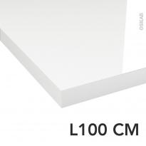 Plan de toilette - Décor Blanc Brillant - Stratifié - Chant coordonné - L100 x P50 x E4,4 cm - PLANEKO