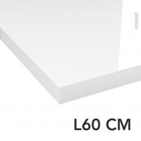 Plan de toilette - Décor Blanc Brillant - Stratifié - Chant coordonné - L60 x P50 x E4,4 cm - PLANEKO