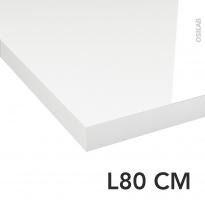 Plan de toilette - Décor Blanc Brillant - Stratifié - Chant coordonné - L80 x P50 x E4,4 cm - PLANEKO