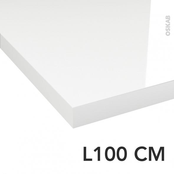 PLANEKO - Plan de toilette - Décor Blanc Brillant - Chant Blanc Brillant - L100xP50xE4,4cm
